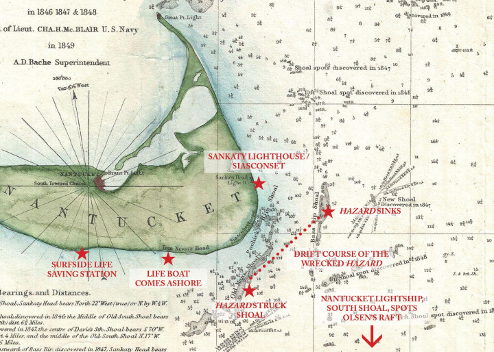 Annotated Map Wreck Of The Hazard